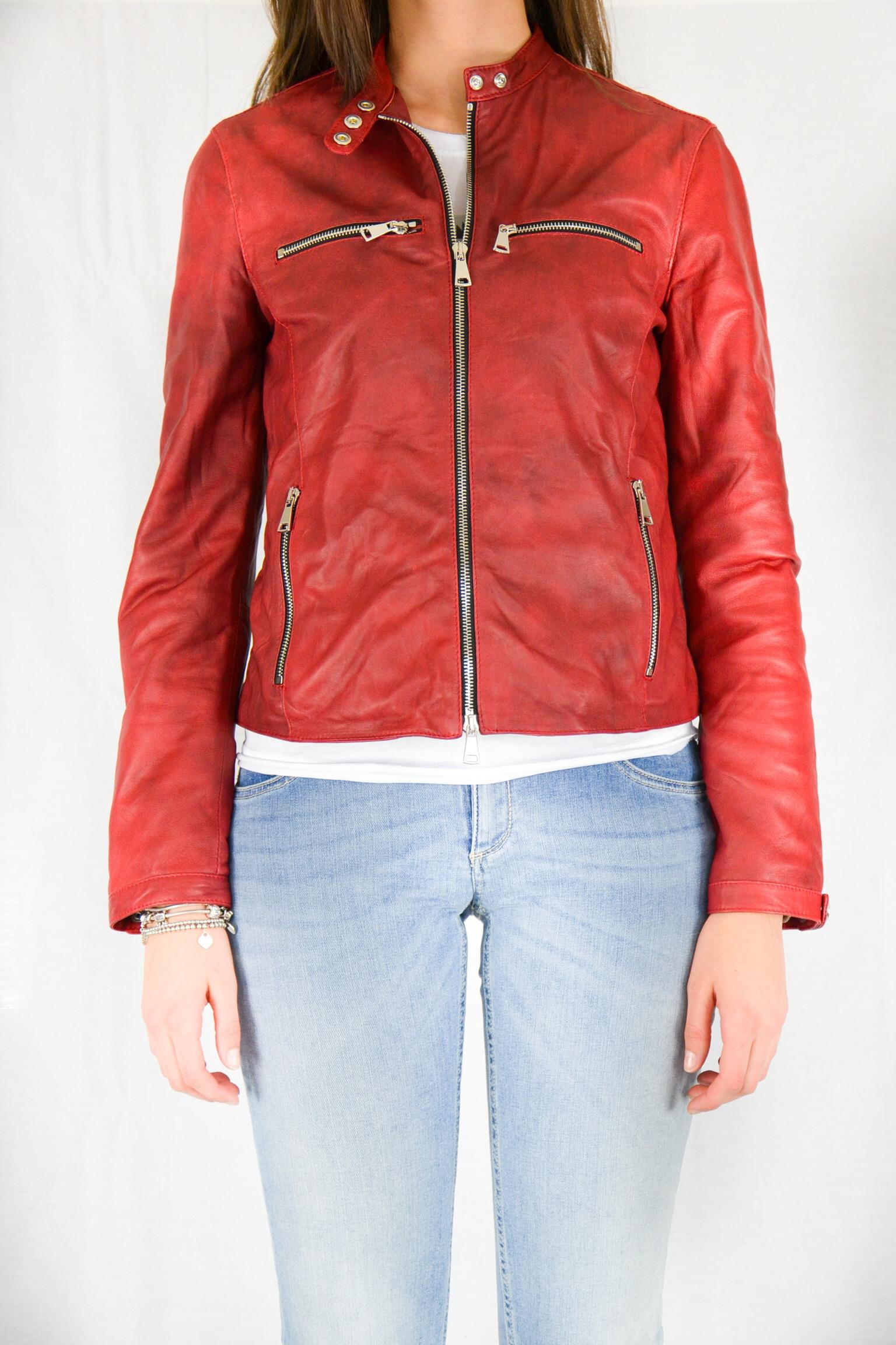 cheaper fc311 58d06 GIUBBINO PELLE BIKER ROSSO Vintage De Luxe - Sabi Abbigliamento